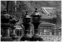 Sacred urns in Tosho-gu Shrine. Nikko, Japan ( black and white)