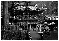 Stairs bellow the main hall of Tosho-gu Shrine on a rainy day. Nikko, Japan ( black and white)