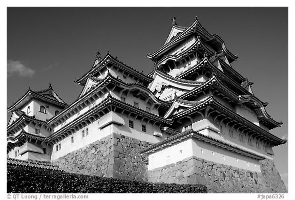 Black and white picture photo towering five story castle himeji japan