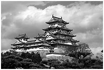Classic lines of the castle. Himeji, Japan (black and white)