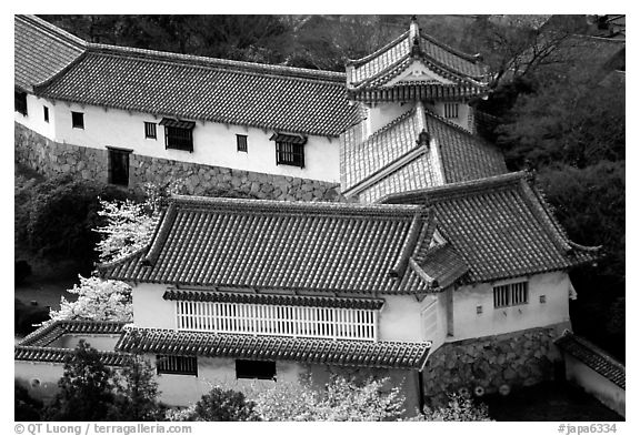 Secondary structures in castle. Himeji, Japan (black and white)