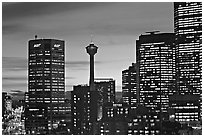 Tower and high-rise buildings, at dusk. Calgary, Alberta, Canada (black and white)