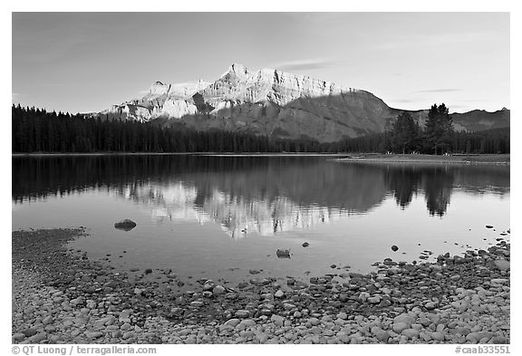 Two Jack Lake shore and Mt Rundle, early morning. Banff National Park, Canadian Rockies, Alberta, Canada (black and white)