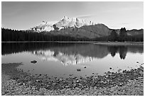 Two Jack Lake shore and Mt Rundle, early morning. Banff National Park, Canadian Rockies, Alberta, Canada ( black and white)