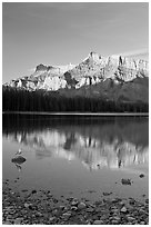 Mount Rundle reflected in Two Jack Lake, early morning. Banff National Park, Canadian Rockies, Alberta, Canada (black and white)