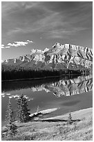 Mount Rundle and Two Jack Lake, morning. Banff National Park, Canadian Rockies, Alberta, Canada (black and white)