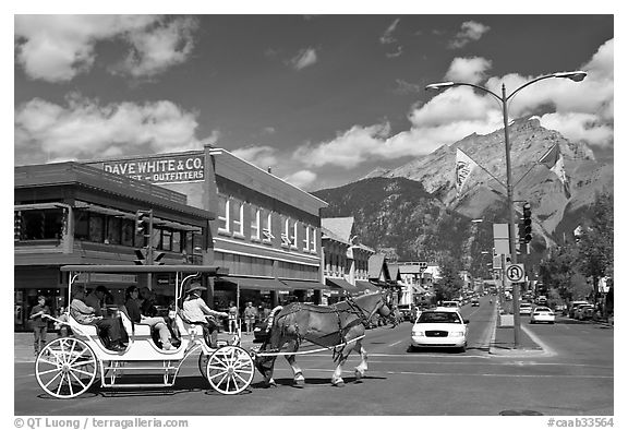 Horse carriage on Banff avenue. Banff National Park, Canadian Rockies, Alberta, Canada (black and white)