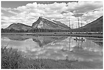 Canoe on first Vermillion Lake, afternon. Banff National Park, Canadian Rockies, Alberta, Canada ( black and white)