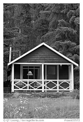 Cabin in the woods with interior lights. Banff National Park, Canadian Rockies, Alberta, Canada (black and white)