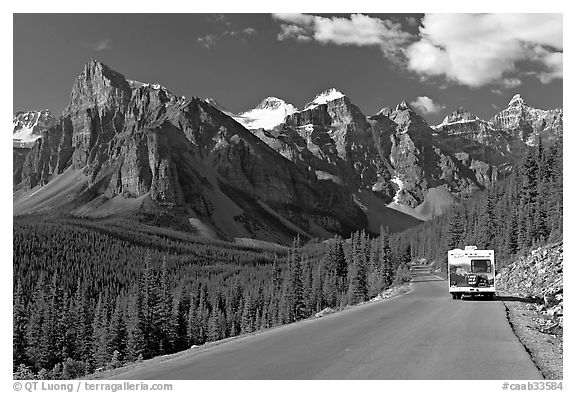 RV on the road to the Valley of Ten Peaks. Banff National Park, Canadian Rockies, Alberta, Canada (black and white)