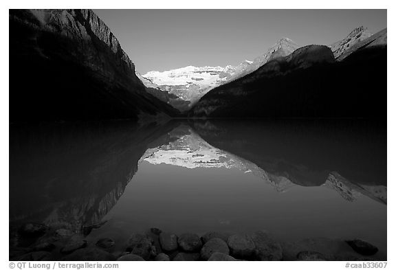 Lake Louise and Victoria Peak, early morning. Banff National Park, Canadian Rockies, Alberta, Canada (black and white)