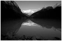 Lake Louise and Victoria Peak, early morning. Banff National Park, Canadian Rockies, Alberta, Canada ( black and white)
