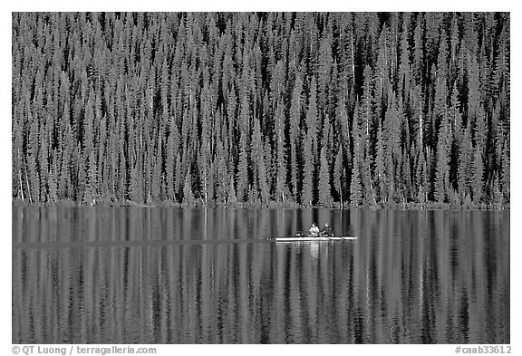 Rower on Lake Louise with forest reflection, early morning. Banff National Park, Canadian Rockies, Alberta, Canada (black and white)