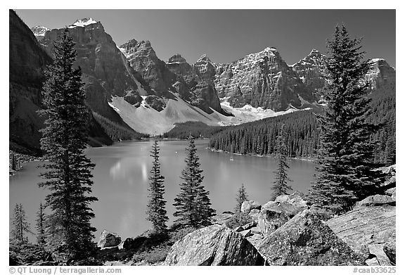 Wenkchemna Peaks above Moraine Lake , mid-morning. Banff National Park, Canadian Rockies, Alberta, Canada (black and white)