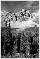 Crowfoot Mountain rising above Bow Lake. Banff National Park, Canadian Rockies, Alberta, Canada ( black and white)