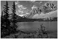 Bow Lake shoreline,  Crowfoot Mountain and Crowfoot Glacier. Banff National Park, Canadian Rockies, Alberta, Canada ( black and white)
