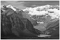 Distant view of Lake Louise and  Victoria Peak. Banff National Park, Canadian Rockies, Alberta, Canada ( black and white)