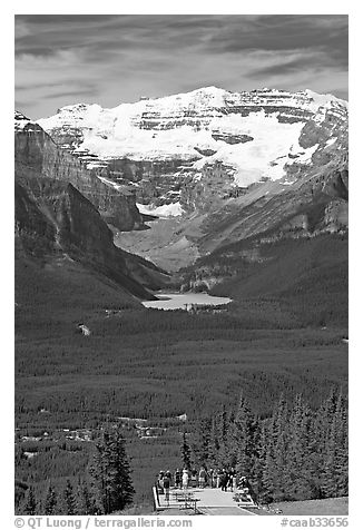 Observation platform, Lake Louise and  Victoria Peak. Banff National Park, Canadian Rockies, Alberta, Canada (black and white)