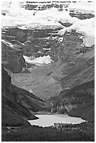 Lake Louise and Chateau Lake Louise at the base of Victorial Peak. Banff National Park, Canadian Rockies, Alberta, Canada ( black and white)