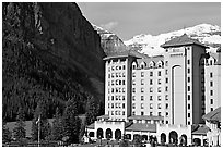 Chateau Lake Louise, with Victoria Peak in the background. Banff National Park, Canadian Rockies, Alberta, Canada (black and white)