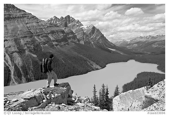 Hiker standing on a rock overlooking Peyto Lake. Banff National Park, Canadian Rockies, Alberta, Canada (black and white)
