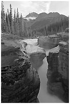 Mount Sarbach and Mistaya Canyon. Banff National Park, Canadian Rockies, Alberta, Canada (black and white)