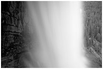 Panther Falls from behind. Banff National Park, Canadian Rockies, Alberta, Canada ( black and white)