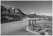 Saskatchevan River. Banff National Park, Canadian Rockies, Alberta, Canada ( black and white)