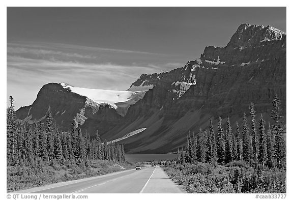 Road, Bow Lake, and Crowfoot Glacier, Icefieds Parkway. Banff National Park, Canadian Rockies, Alberta, Canada (black and white)