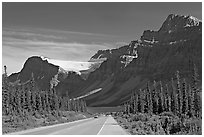 Road, Bow Lake, and Crowfoot Glacier, Icefieds Parkway. Banff National Park, Canadian Rockies, Alberta, Canada ( black and white)