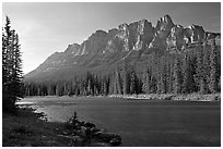 Castle Mountain and the Bow River, late afternoon. Banff National Park, Canadian Rockies, Alberta, Canada (black and white)