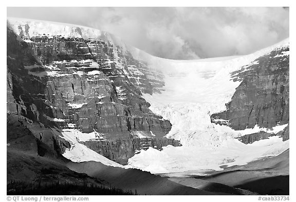 Snow Dome Glacier, Snow Dome, and Mt Kitchener. Jasper National Park, Canadian Rockies, Alberta, Canada (black and white)