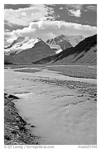 Wide Sunwapta River and Mt Athabasca, morning. Jasper National Park, Canadian Rockies, Alberta, Canada (black and white)