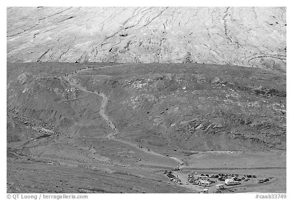 Terminal moraine with path leading to Athabasca Glacier. Jasper National Park, Canadian Rockies, Alberta, Canada (black and white)