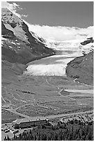 Icefields Center and Athabasca Glacier. Jasper National Park, Canadian Rockies, Alberta, Canada ( black and white)