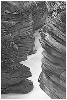 Narrow canyon at the base of Athabasca Falls. Jasper National Park, Canadian Rockies, Alberta, Canada (black and white)