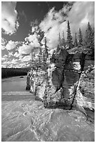 Athabasca River and cliff, late afternoon. Jasper National Park, Canadian Rockies, Alberta, Canada (black and white)