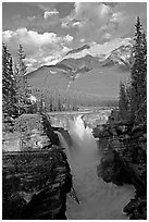 Athabasca Falls and Mt Kerkeslin, late afternoon. Jasper National Park, Canadian Rockies, Alberta, Canada ( black and white)