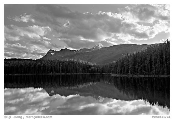 Peaks and clouds reflected in Leach Lake, sunset. Jasper National Park, Canadian Rockies, Alberta, Canada (black and white)