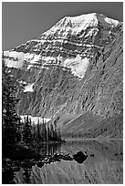 Steep face of Mt Edith Cavell raising above Cavell Lake. Jasper National Park, Canadian Rockies, Alberta, Canada ( black and white)