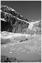 Turquoise glacial lake below Mt Edith Cavell, morning. Jasper National Park, Canadian Rockies, Alberta, Canada ( black and white)
