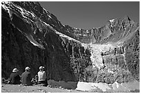 Hikers looking at Angel Glacier and Cavell Glacier. Jasper National Park, Canadian Rockies, Alberta, Canada (black and white)