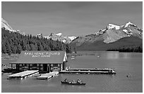 Maligne Lake and boat house. Jasper National Park, Canadian Rockies, Alberta, Canada ( black and white)
