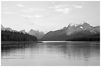 Serene view of Maligne Lake and peaks, sunset. Jasper National Park, Canadian Rockies, Alberta, Canada (black and white)