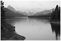 Maligne River outlet and Maligne Lake, sunset. Jasper National Park, Canadian Rockies, Alberta, Canada ( black and white)