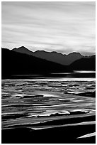 Braided channels and Medicine Lake, sunset. Jasper National Park, Canadian Rockies, Alberta, Canada (black and white)