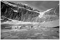 Icebergs and Cavell Pond at the base of Mt Edith Cavell, early morning. Jasper National Park, Canadian Rockies, Alberta, Canada ( black and white)