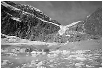 Cavell Pond and glaciers  at the base of Mt Edith Cavell, early morning. Jasper National Park, Canadian Rockies, Alberta, Canada ( black and white)