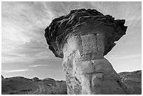 Caprock, early morning, Dinosaur Provincial Park. Alberta, Canada (black and white)