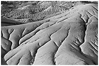 Erosion patters in mud, Dinosaur Provincial Park. Alberta, Canada (black and white)